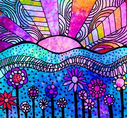 colourful sunrise doodle