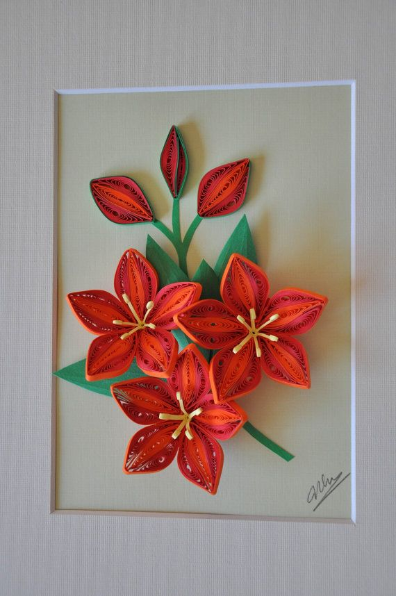 3D red and orange flowers paper quilling shadow box by NhiArt, $48.00