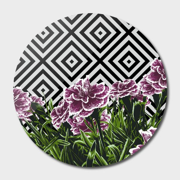 Discover «Garofani», Exclusive Edition Disk Print by Paola Morpheus  #pictures #interiordesign #bedroom #bathroom #dinningroom #garofani #summer #dress #dresses #design #moda #moda2017 #summer2017 #geometric #geometria #foglie #banana #leaf #cameradaletto #arredo #arredamento #green #bio #flower #fiori #piante #natura #nature #plant #deco #idee #ideegreen #wedding #gif #buy #paolamorpheus #artist #living #room #livingroom #italy #beauty #house #housesweethouse #spring  #garden