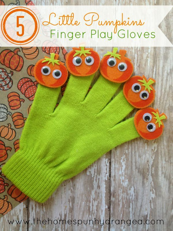 Enjoy the Five Little Pumpkins finger play with your child even more when you craft these Five Little Pumpkin finger play gloves.