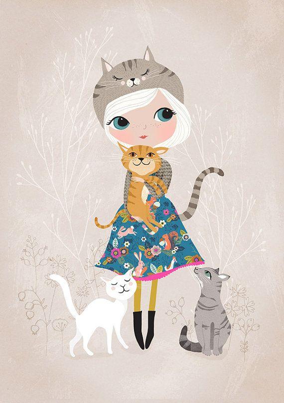Gato amante... Impresión de Giclee de una por DrawnByRebeccaJones