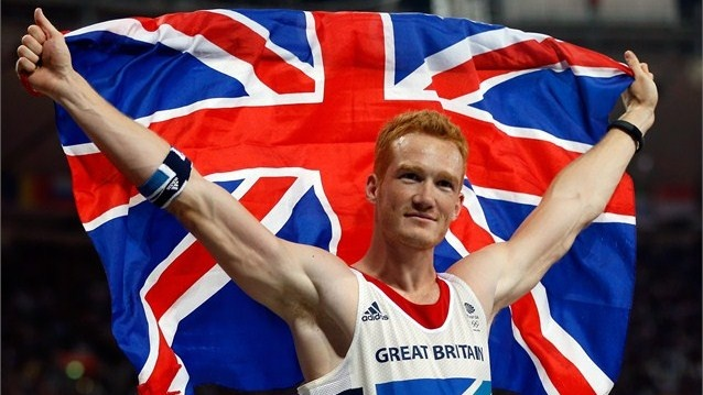 Greg Rutherford of Great Britain celebrates winning gold in the Men's Long Jump Final on Day 8 of the London 2012 Olympic Games at Olympic Stadium