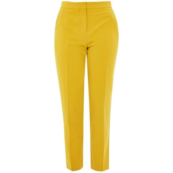 Topshop Cigarette Suit Trousers ($40) ❤ liked on Polyvore featuring pants, trousers, mustard, mustard yellow pants, cigarette pants, mustard yellow trousers, tailored suit pants and tailored trousers