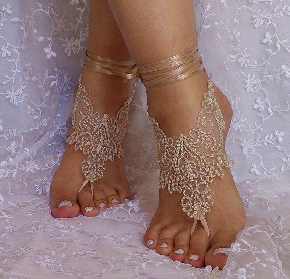 Beige burlap a little bit gold lace barefoot by GlovesByJana