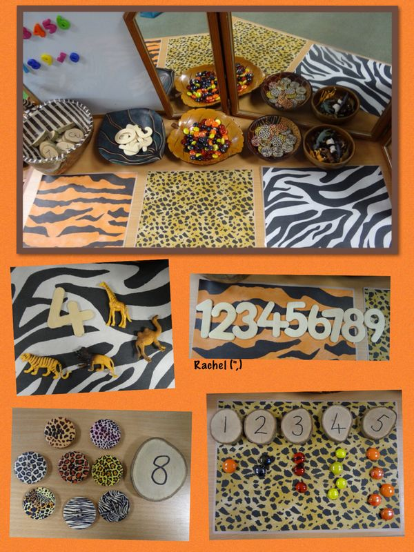"Wild animals and pattern in the maths area from Rachel ("",)"
