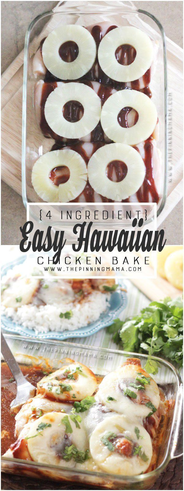This is CRAZY delicious! And so easy and healthy for dinner! Hawaiian Chicken Bake recipe. Sweet & tangy BBQ sauce, pineapple, and cheese all baked over chicken. YUM! (Bbq Chicken Pineapple)