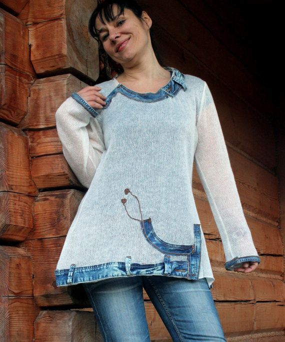 Summer sweater jeans recycled boho by jamfashion on Etsy, $76.00 | your-craft.co