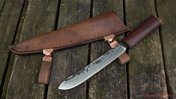 Viking Seax Seven Inch Hand Forged Blade With Ash Handle And Leather Sheath Leather Sheath Hand Forged Forging