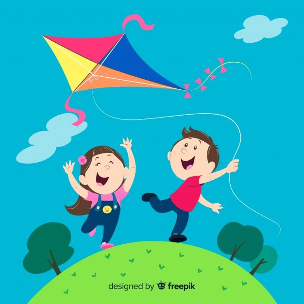 Composition Of Kids Flying A Paper Kite Free Vector Bee Coloring Pages Vector Free Kite