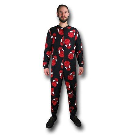 You may not be able to spin webs but you can get pretty close hanging out on the sofa with the 100% polyester Spider-Man Heads Adult Onesie Pajamas! Also known as a Spiderman Union Suit to some. Who needs to catch flies when you can catch nacho flavored corn chips and watch TV? BAM! Hosting a ton of Spider-Man masks, the Spider-Man Onesie Pajamas will keep you warm while proudly displaying your affection for Marvel's Web-Head! <br>