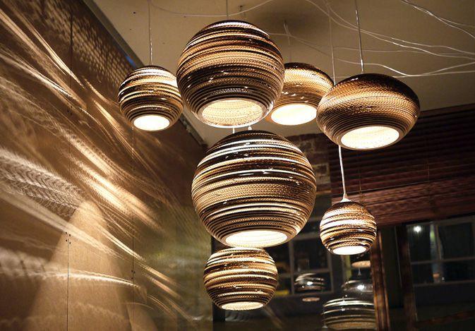 De kartonnen designlampen van Graypants