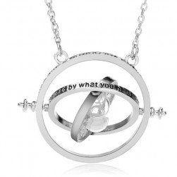Nadčasový náhrdelník s přesýpacími hodinami - stříbrná barva