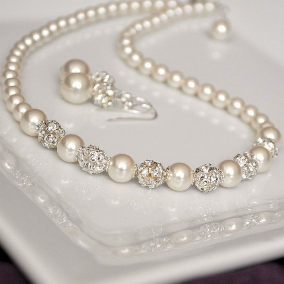 pearl rhinestone bridal necklace and earring set