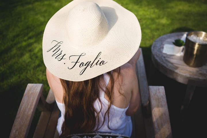 Etsy Bride gift.Custom last name beach floppy hat. bridal shower gift.  custom ee2cdec82