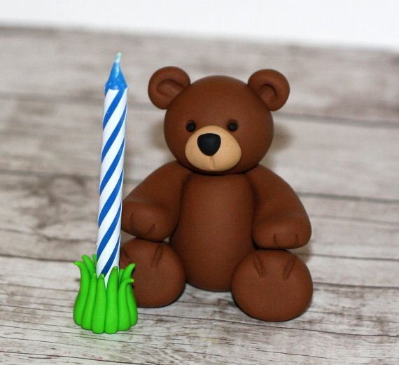 Custom Made Clay Bear Candle Holder - Zoo Animal Cupcake / Cake Topper