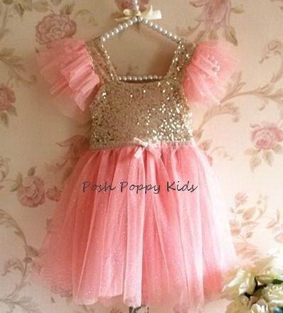 Flower Girl Dress Pink and Gold Flower Girl Dress by PoshPoppyKids