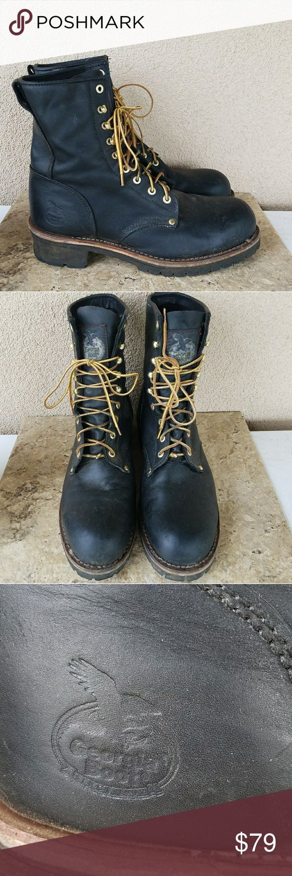 Georgia Boot Co. Logger Boots Sz 13 Georgia Boot Company black leather logger steel toe work boots. 8 inch height. Style number G8320. Excellent condition. Georgia Boot Shoes Boots