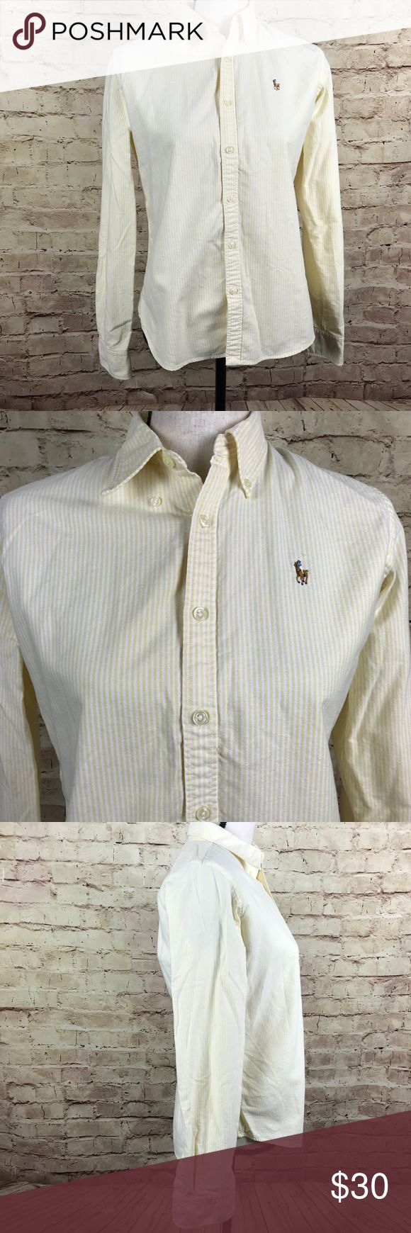 Ralph Lauren Slim Fit Oxford Shirt Size 8 Ralph Lauren Women Oxford Shirt  Slim Fit  Embroidered Brown Pony Yellow, White Stripe  Long Sleeve Top  Size 8 Approximate measurements: chest 18.5 inches; sleeve 24.5 inches; length 25.5 inches Ralph Lauren Tops Button Down Shirts