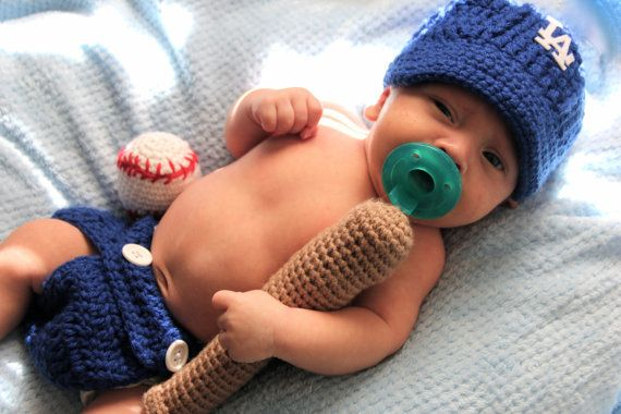 Crochet LA Dodgers Baby Photo by CrochetedByAna on Etsy