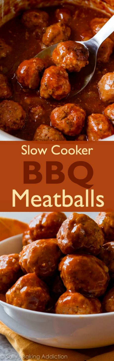 Easy slow cooker BBQ meatballs make the perfect comforting weeknight dinner recipe or crowd-pleasing appetizer. Recipe found on sallysbakingaddiction.com
