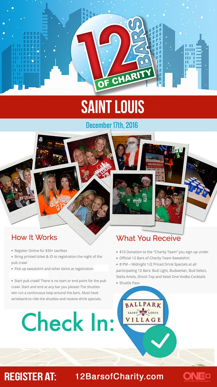 Join Ballpark Village as the headquarters of the largest pub crawl in St. Louis & support local charities!