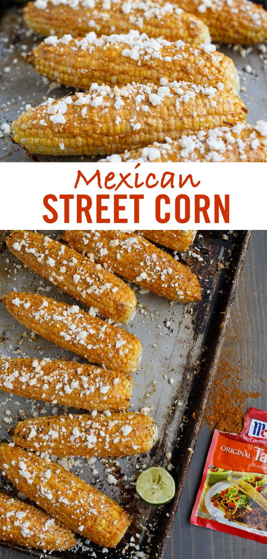 """Ready in 20 minutes, party guests will """"oooh"""" and """"ahhh"""" over this grilled Mexican Street Corn recipe. Simply brush corn with a creamy mayo sauce featuring Taco Seasoning Mix after grilling. Top with Cotija cheese and enjoy this easy and delicious Cinco de Mayo party appetizer."""