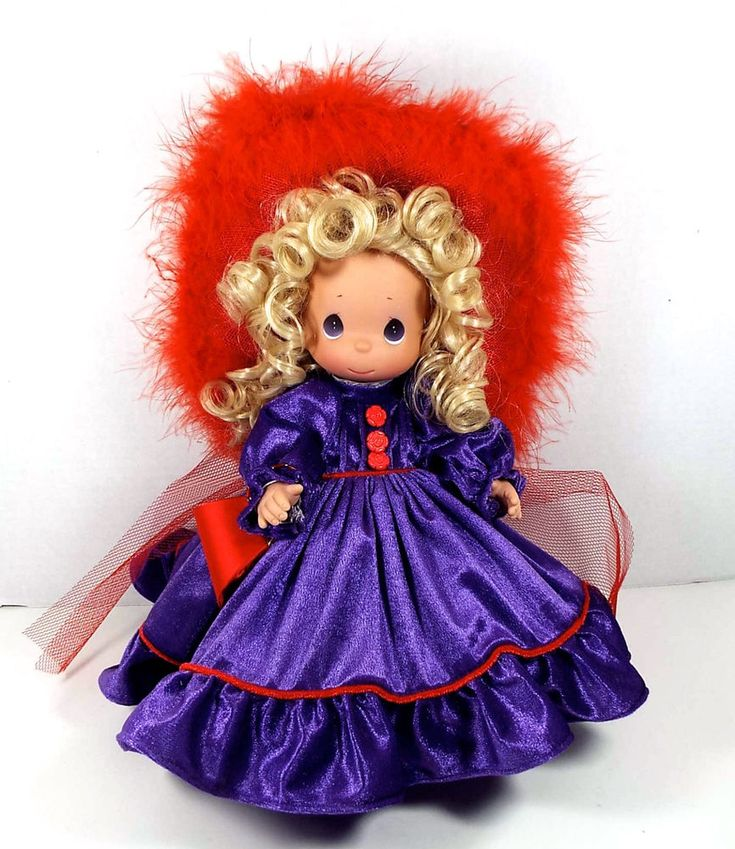"Precious Moments Red Hat Society Vinyl Doll 12"" Tall Purple Dress Floppy Hat #PreciousMoments"