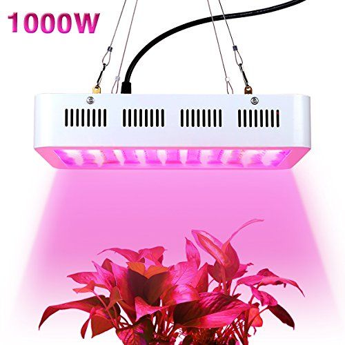 1000w LED Grow Light,Super Bright Full Spectrum Double Chips Growing Bulbs with Protective Sunglasses for Greenhouse Hydroponic Aquatic Indoor Plants Seeding/Growing/Flowering  Newest Technology Dual Chips---1000W LED grow light has dual-chips(2pcs 5w chips in every led)LEDs, which is much brighter and more efficient than traditional 3W and 5W LED grow lights. It is the HIGHEST PAR/LUMEN OUTPUT PER LEDs.  Full Spectrum---The light include red,blue,yellow,white,IR and UV. The complete a...