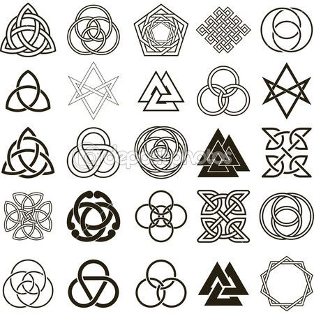 christian symbol tattoo designs | Set of symbols icons vector. Tattoo design set. — Stock Illustration ...