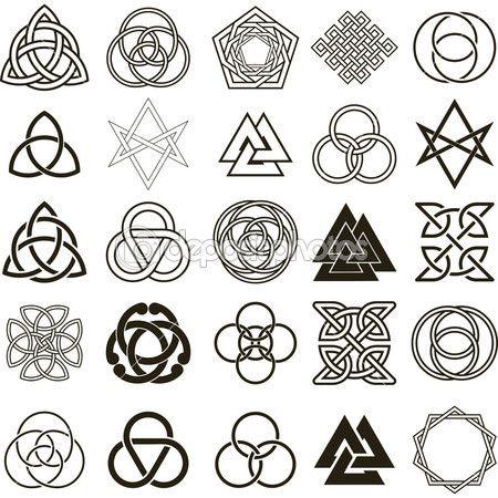 Conjunto de vectores de iconos de símbolos. tatuaje diseño conjunto — Ilustración de stock #3273460