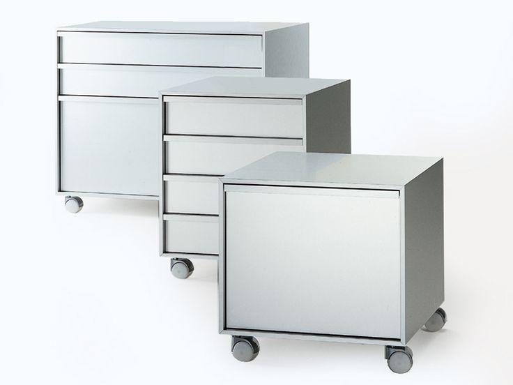 Aluminium office drawer unit with casters ALUMINIUM CABINET by MDF Italia | design Bruno Fattorini