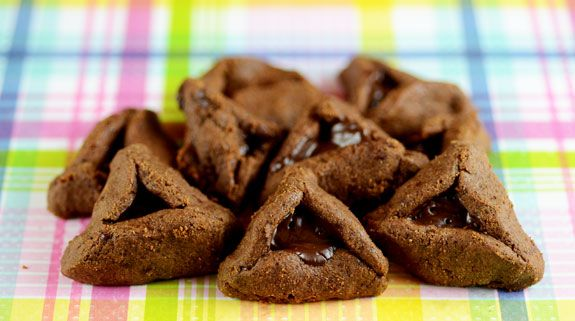 Gluten-free, Nut-Free Chocolate Hamantaschen made with coconut flour and dark chocolate, are a healthy twist on a traditional Jewish pastry served at Purim.