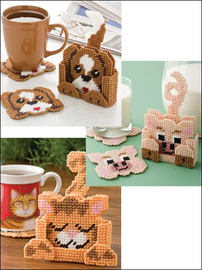 Coaster Pals Plastic Canvas Pattern Download from e-PatternsCentral.com -- Adorable puppy, kitty pig coaster sets will add a whimsical touch to your tabletop.