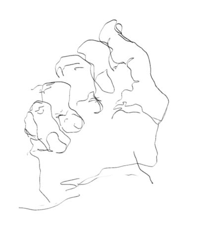 Develop Hand Coordination by Practicing Blind Drawing: Blind Contour Drawing Example - Hand
