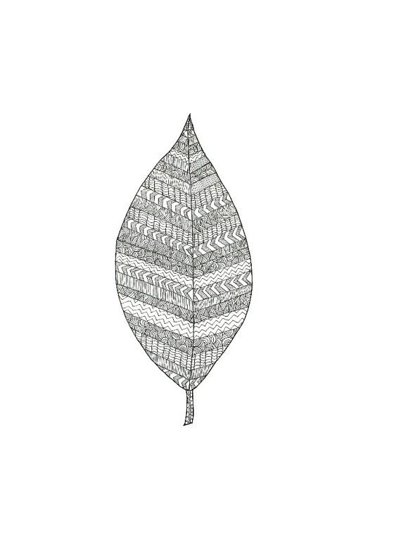 """This is """"Patterned Leaf Illustration"""" by Sarah Wormann. Another leaf drawing, this picture features a small leaf covered in little geometric patterns created with just tiny lines."""