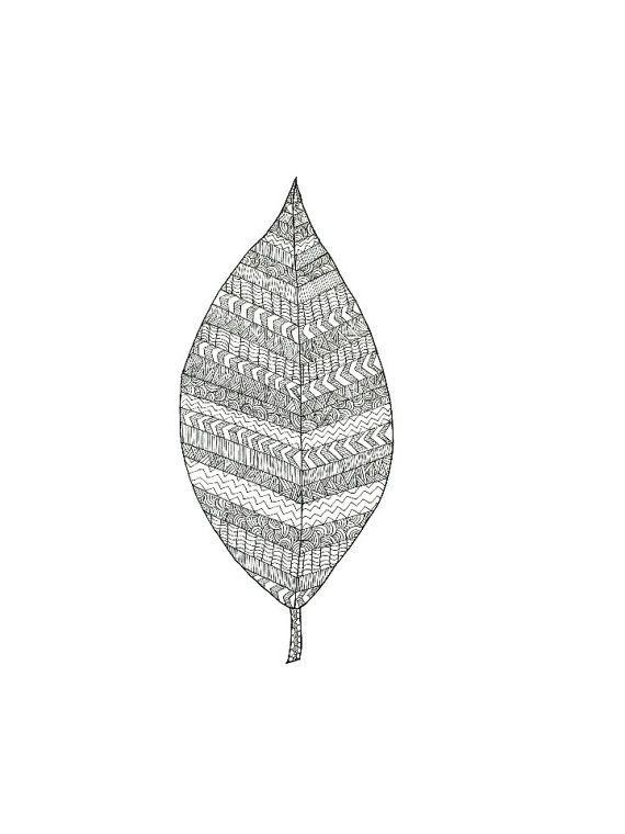 Patterned Leaf Illustration  Ink 8x10 or 5x7 by SarahWormann, $10.00