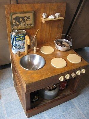 85 best diy play kitchens images on pinterest for Play kitchen table