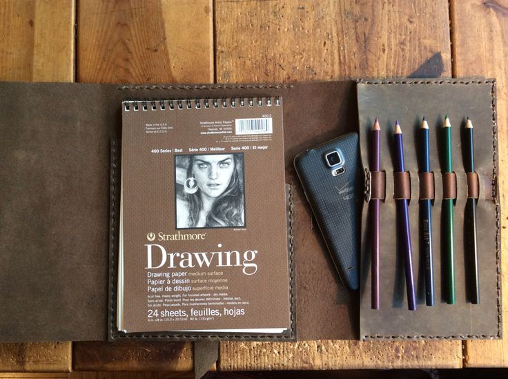 Strathmore sketchbook - refillable leather sketchbook journal with 3 pockets, pencil case and phone pocket by LUSCIOUSLEATHERNYC on Etsy https://www.etsy.com/listing/209970928/strathmore-sketchbook-refillable-leather