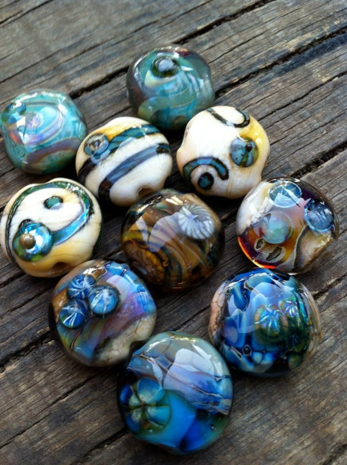 jet beads silver glass reactive and murrinis
