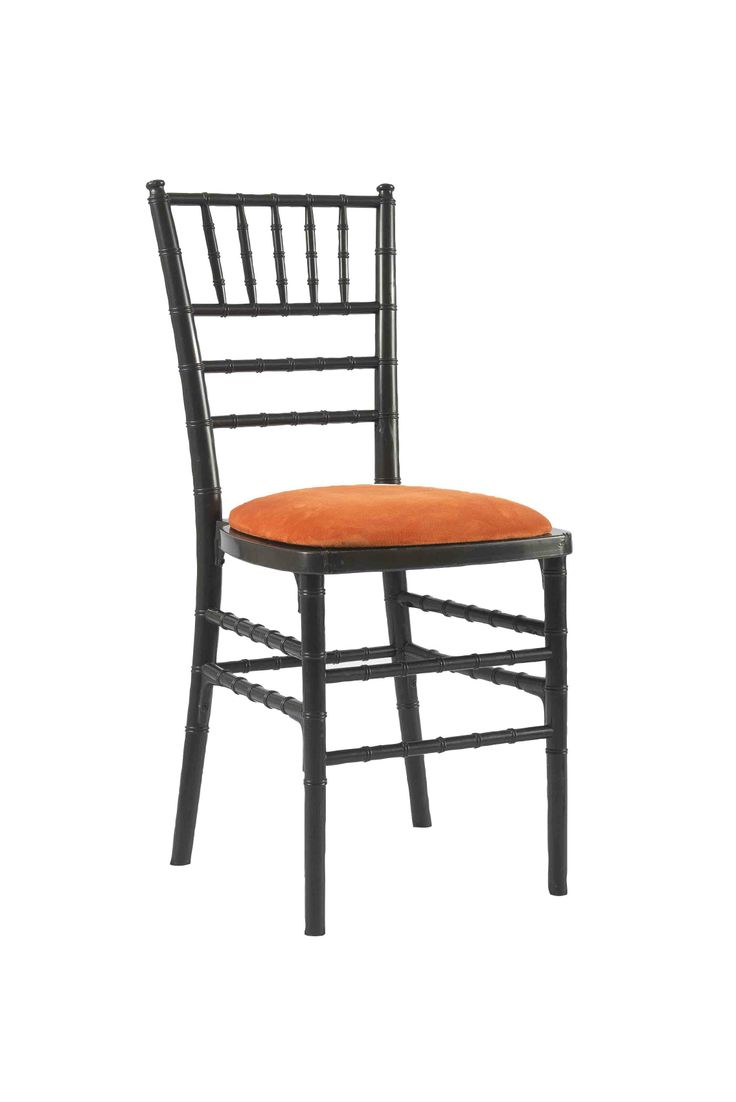 Black Chivari with Orange Seat Pad, Our Black Chivari chair is a modern design stackable eco-friendly resin chair, shown here with a Orange seat pad but is also available in various coloured seat pads.  http://www.eventhireonline.co.uk/chairs/chivari