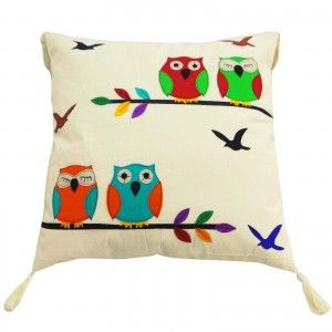 """Owl Pattern Cushion Cover 58 cm Pure Cotton Patchwork Pillow Case Throw 23"""""""