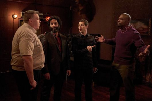 BROOKLYN NINE-NINE: L-R: Joel McKinnon Miller, guest star Jason Mantzoukas, Andy Samberg and Terry Crews in the ÒParanoiaÓ episode of BROOKLYN NINE-NINE airing Tuesday, March 29 (9:00-9:30 PM ET/PT) on FOX. ©2016 Fox Broadcasting Co. CR: John P. Fleenor/FOX