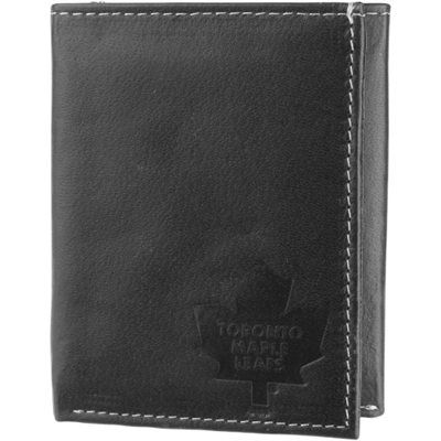 Mens Toronto Maple Leafs Debossed Logo Leather Tri-Fold Wallet