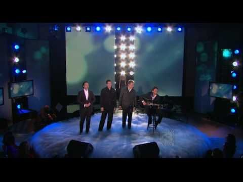 "The Canadian Tenors performing ""Hallelujah"" on Oprah. Celine Dion surprises them during the song and their expressions are precious. Dallas//Dec. 3//@Kirby Lauger"