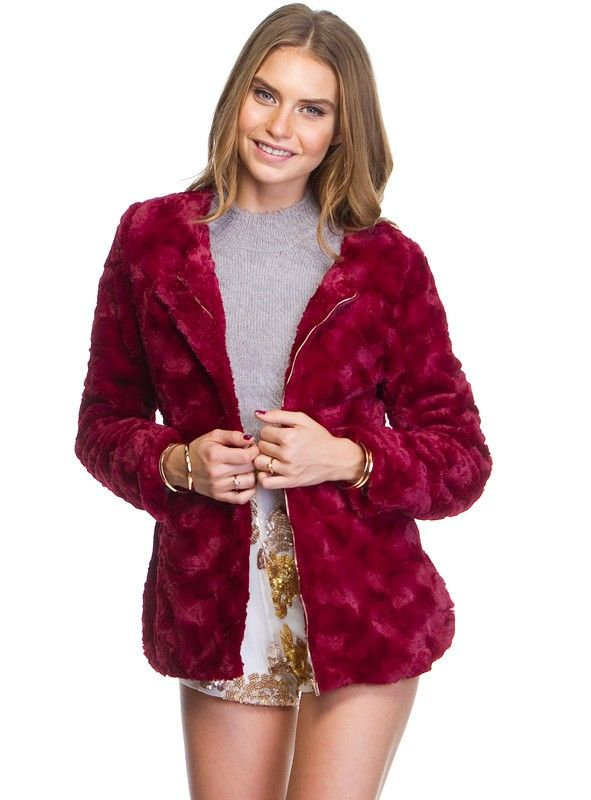 """Shagadelic+Jacket+-+Shagadelic+Jacket+by+Polly  ++++Gorgeous+shaggy+faux+fur+jacket!+ ++++Features+shoulder+pads+ ++++Concealed+front+zip+opening ++++Regular+fit ++++Available+in+Black+and+Burgundy ++++Polyester/Viscose   Our+model+is+wearing+a+size+8+and+is+177.5cm+tall.+(5'10"""")"""
