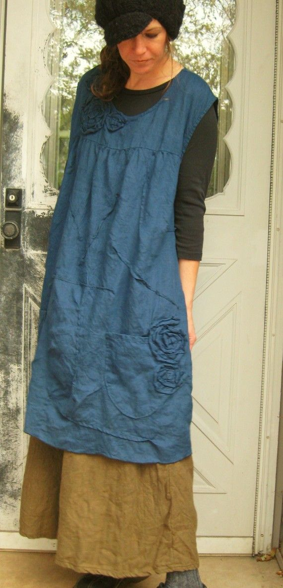 Rose Scrunchy Smock Dress by sarahclemensclothing on Etsy, $145.00