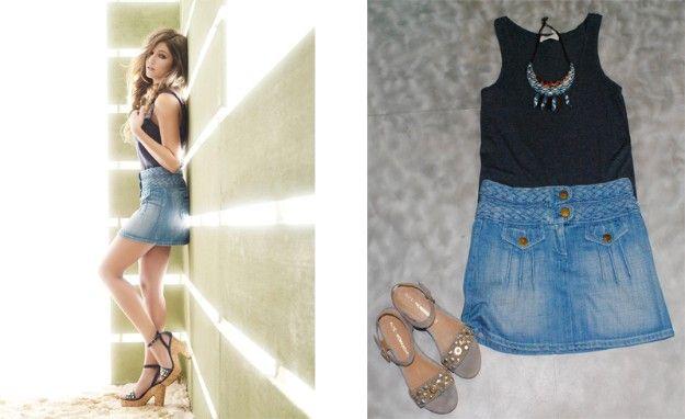 Camiseta de American Vintage, falda de Chloe Vintage y collar de Sfera