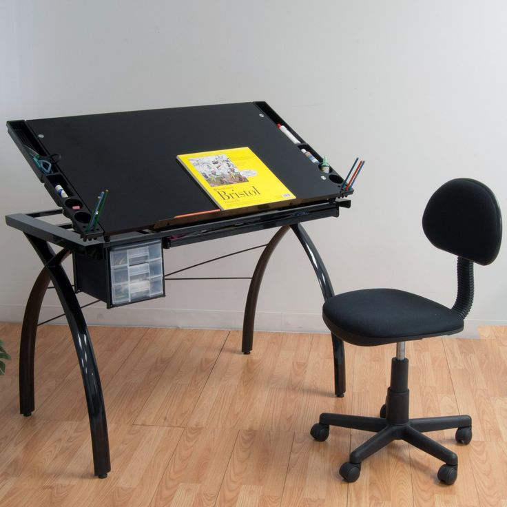 Lovely Studio Designs Futura Drafting Table With Glass Top $176.99