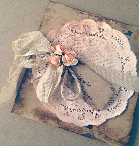 Vintage Wedding Invitation Peach rose Bridal Shower Save the Date via Etsy
