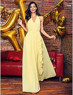 ts+couture®+di+promenade+del+fodero+del+vestito+da+sera+/+colonna+v-collo+alla+caviglia+georgette+formale+con+drappeggio+–+EUR+€+259.31
